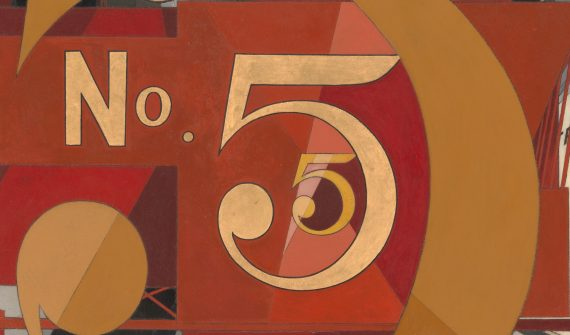 Charles Demuth (1883–1935), I Saw the Figure 5 in Gold, 1928. Oil, graphite, ink and gold leaf on paperboard, 90.2 x 76.2 cm © Metropolitan Museum of Art, New York.