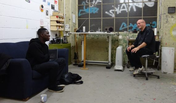 Daniel Owusu and Jonathan Parsons in Jonathan's studio, courtesy of Jonathan Parsons