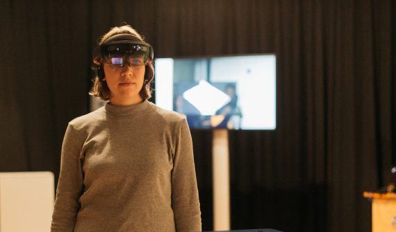 Mixed Reality installation at the EYE Film Museum Amsterdam, 2017. Model Mai Spring. Photo by Martijn de Vos