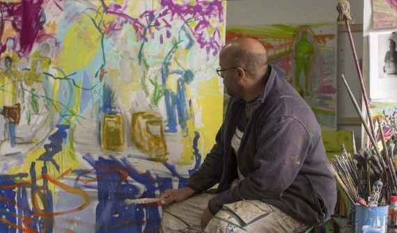 Phoenix artist Joshua Uvieghara in his studio by Manel Ortega