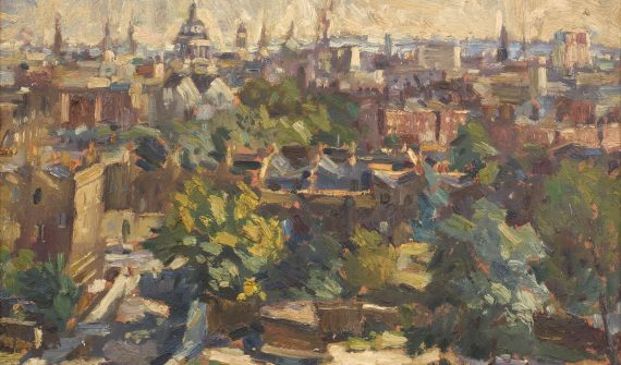 Cyril Mann (British 1911-1980) St Pauls from Bevan Court, 1961, oil on board © The Artist courtesy of Piano Nobile